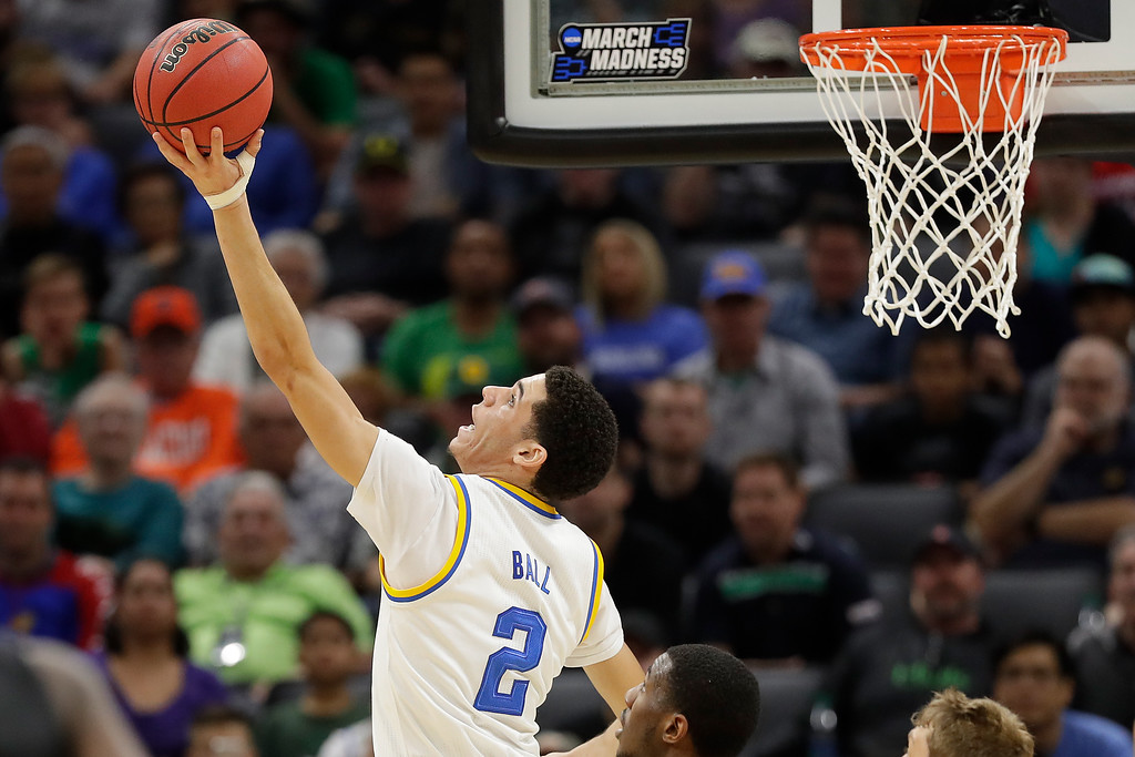 . SACRAMENTO, CA - MARCH 17: Lonzo Ball #2 of the UCLA Bruins attempts a shot against the Kent State Golden Flashes during the first round of the 2017 NCAA Men\'s Basketball Tournament at Golden 1 Center on March 17, 2017 in Sacramento, California.  (Photo by Jamie Squire/Getty Images)