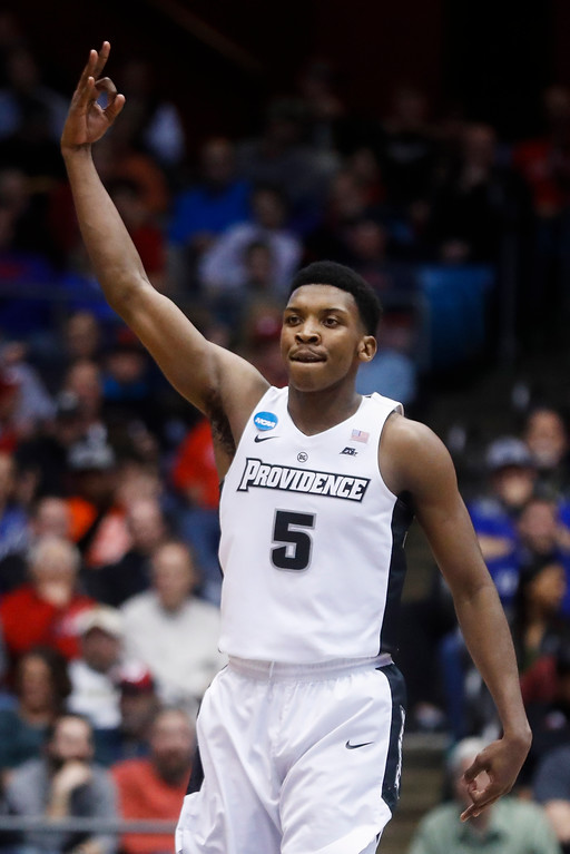 . Providence\'s Rodney Bullock celebrates after making a 3-point basket against Southern California during the first half of a First Four game of the NCAA men\'s college basketball tournament, Wednesday, March 15, 2017, in Dayton, Ohio. (AP Photo/John Minchillo)