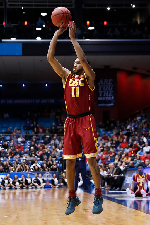 . Southern California\'s Jordan McLaughlin shoots against Providence in a First Four game of the NCAA men\'s college basketball tournament, Wednesday, March 15, 2017, in Dayton, Ohio. Southern California won 75-71. (AP Photo/John Minchillo)