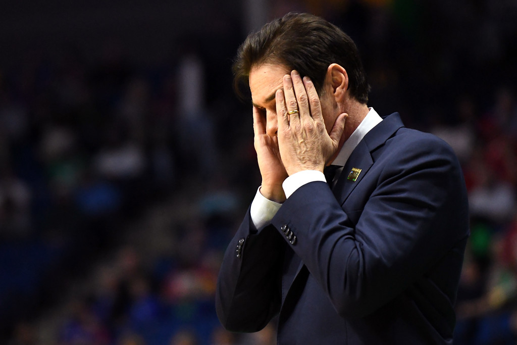 . TULSA, OK - MARCH 17:  Head coach Tim Jankovich of the Southern Methodist Mustangs looks on in the first half against the USC Trojans during the first round of the 2017 NCAA Men\'s Basketball Tournament at BOK Center on March 17, 2017 in Tulsa, Oklahoma.  (Photo by J Pat Carter/Getty Images)