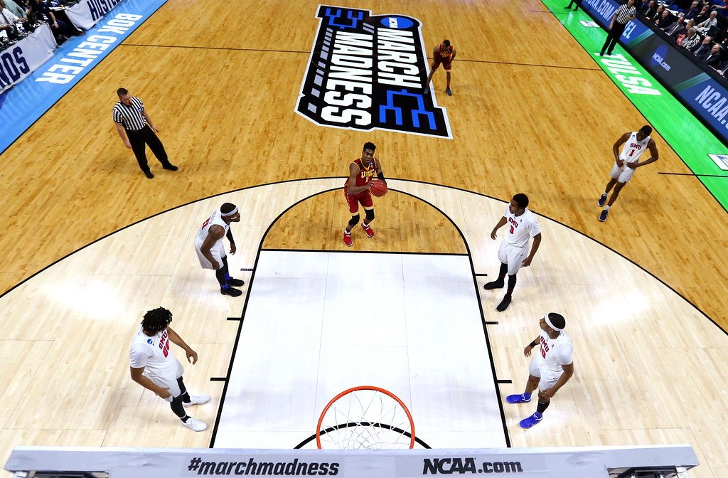 . TULSA, OK - MARCH 17: Charles Buggs #1 of the USC Trojans shoots a free throw in the first half against the Southern Methodist Mustangs during the first round of the 2017 NCAA Men\'s Basketball Tournament at BOK Center on March 17, 2017 in Tulsa, Oklahoma.  (Photo by Ronald Martinez/Getty Images)