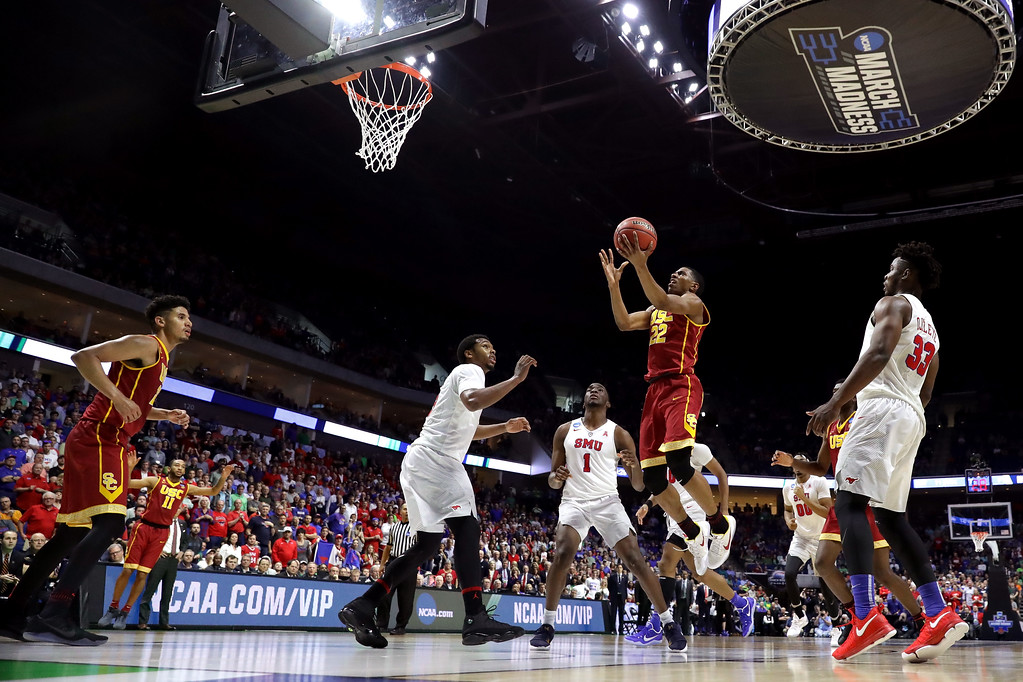 . TULSA, OK - MARCH 17: De\'Anthony Melton #22 of the USC Trojans drives to the basket in the second half against the Southern Methodist Mustangs during the first round of the 2017 NCAA Men\'s Basketball Tournament at BOK Center on March 17, 2017 in Tulsa, Oklahoma.  (Photo by Ronald Martinez/Getty Images)