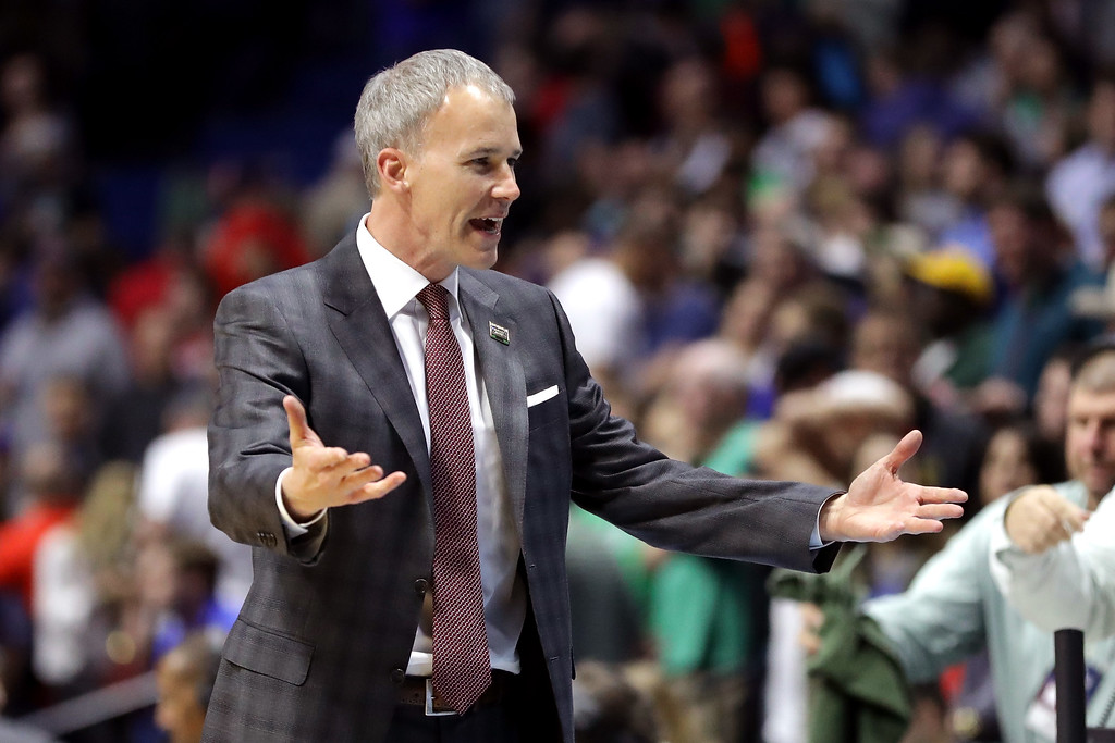 . TULSA, OK - MARCH 17: Head coach Andy Enfield of the USC Trojans reacts in the second half against the Southern Methodist Mustangs during the first round of the 2017 NCAA Men\'s Basketball Tournament at BOK Center on March 17, 2017 in Tulsa, Oklahoma.  (Photo by Ronald Martinez/Getty Images)
