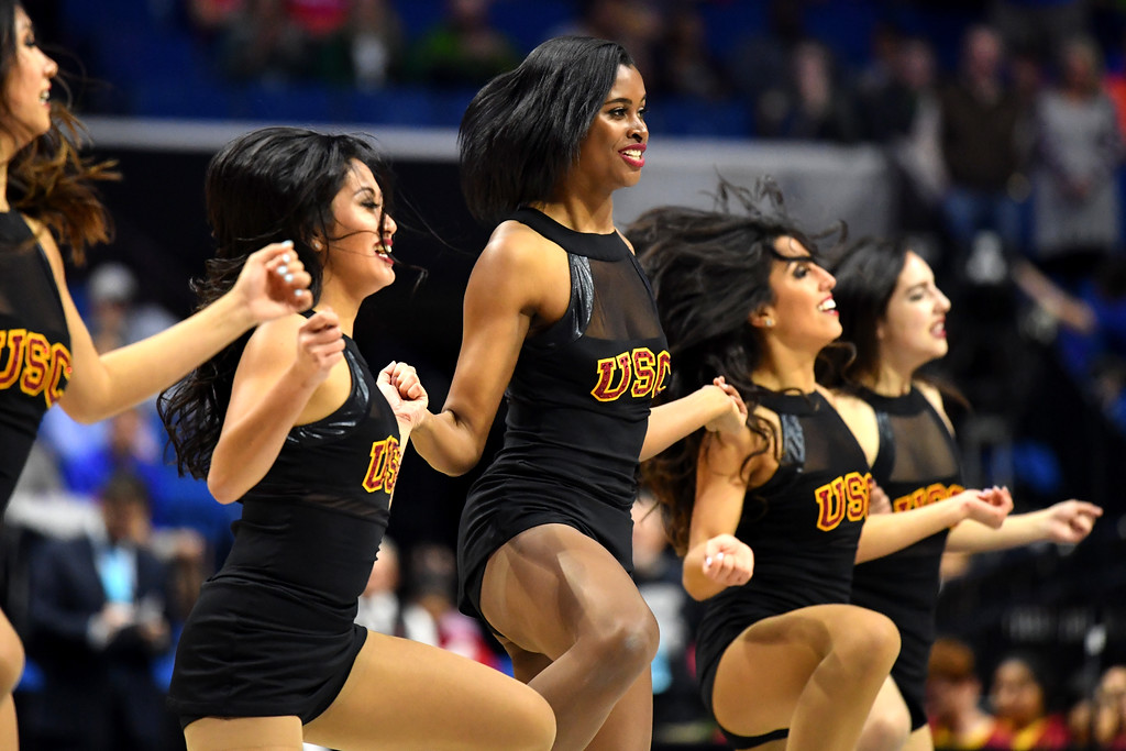 . TULSA, OK - MARCH 17:  The USC Trojans cheerleaders perform in the first half against the Southern Methodist Mustangs during the first round of the 2017 NCAA Men\'s Basketball Tournament at BOK Center on March 17, 2017 in Tulsa, Oklahoma.  (Photo by J Pat Carter/Getty Images)
