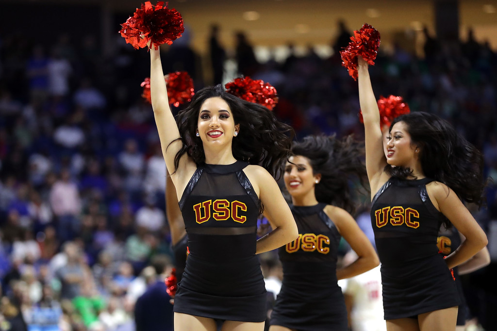 . TULSA, OK - MARCH 17:  The USC Trojans cheerleaders perform in the first half against the Southern Methodist Mustangs during the first round of the 2017 NCAA Men\'s Basketball Tournament at BOK Center on March 17, 2017 in Tulsa, Oklahoma.  (Photo by Ronald Martinez/Getty Images)