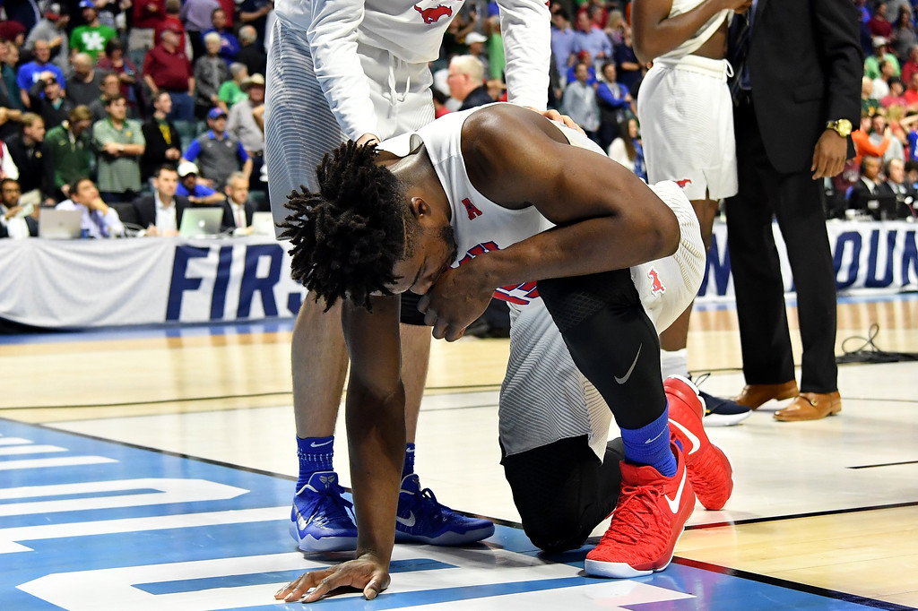 . TULSA, OK - MARCH 17: Semi Ojeleye #33 of the Southern Methodist Mustangs reacts after being defeated by the USC Trojans during the first round of the 2017 NCAA Men\'s Basketball Tournament at BOK Center on March 17, 2017 in Tulsa, Oklahoma.  (Photo by J Pat Carter/Getty Images)