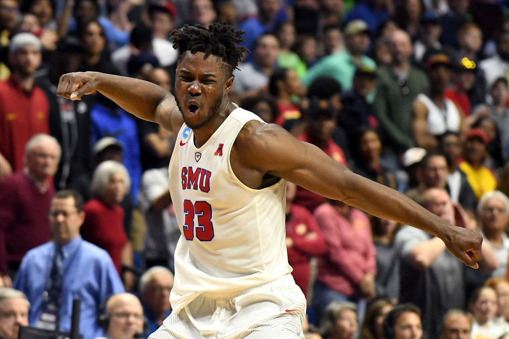 . TULSA, OK - MARCH 17: Semi Ojeleye #33 of the Southern Methodist Mustangs reacts in the second half against the USC Trojans during the first round of the 2017 NCAA Men\'s Basketball Tournament at BOK Center on March 17, 2017 in Tulsa, Oklahoma.  (Photo by J Pat Carter/Getty Images)