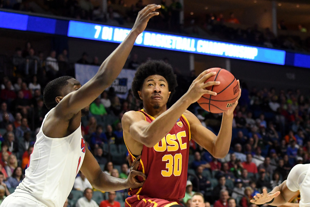 . TULSA, OK - MARCH 17: Elijah Stewart #30 of the USC Trojans drives to the basket in the first half against the Southern Methodist Mustangs during the first round of the 2017 NCAA Men\'s Basketball Tournament at BOK Center on March 17, 2017 in Tulsa, Oklahoma.  (Photo by J Pat Carter/Getty Images)