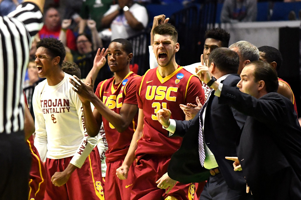 . TULSA, OK - MARCH 17: The USC Trojans bench reacts late in the second half against the Southern Methodist Mustangs during the first round of the 2017 NCAA Men\'s Basketball Tournament at BOK Center on March 17, 2017 in Tulsa, Oklahoma.  (Photo by J Pat Carter/Getty Images)