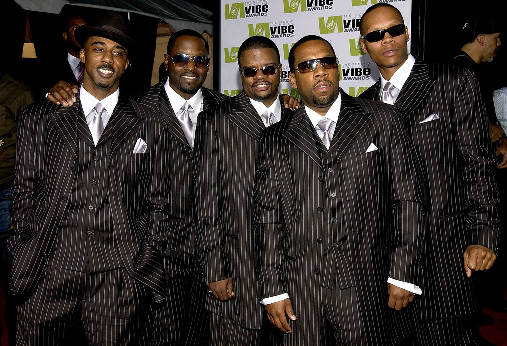 . SANTA MONICA, CA - NOVEMBER 15:  Music group New Edition attends the 2004 Vibe Awards on UPN at Barker Hangar November 15, 2004 in Santa Monica, California. (Photo by Amanda Edwards/Getty Images)