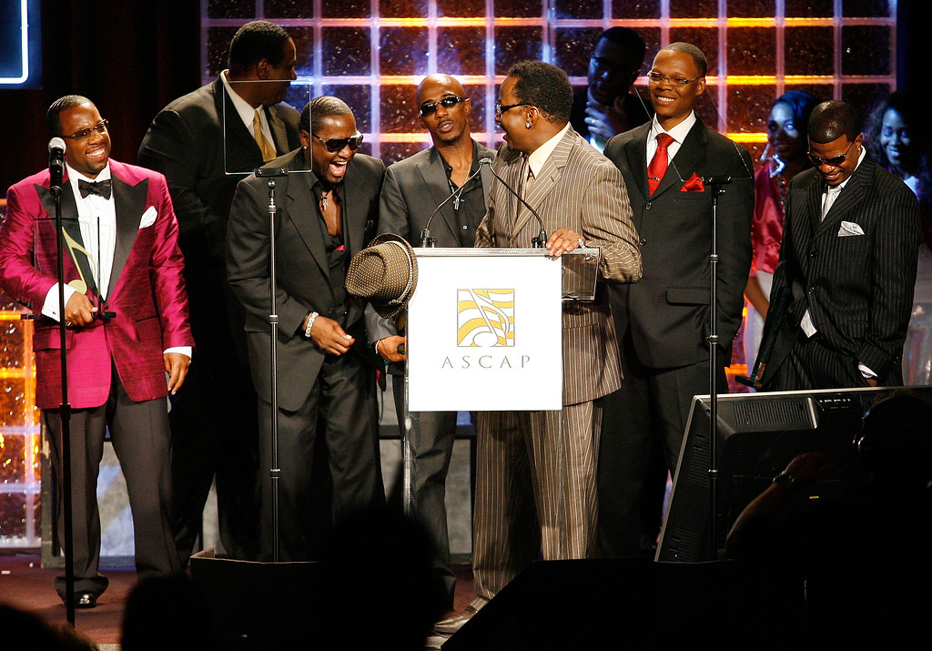 . BEVERLY HILLS, CA - JUNE 23:  Singer Bobby Brown (at podium) and fellow members of the group New Edition receive the Golden Note Award at ASCAP\'s 21st Annual Rhythm and Soul Music Awards on June 23, 2008 in Beverly Hills, California.  (Photo by Vince Bucci/Getty Images)