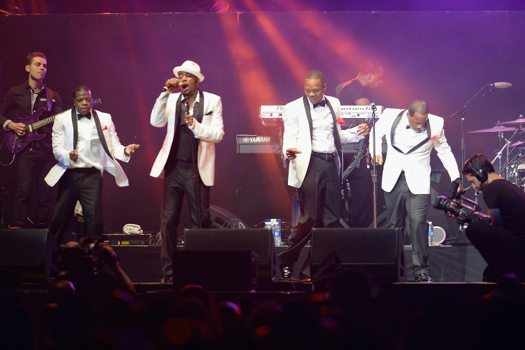 . LOS ANGELES, CA - JUNE 30:  (L-R) Ricky Bell, Ralph Tresvant, Ronnie Devoe and Michael Bivins perform onstage with New Edition during R. Kelly, New Edition and The Jacksons at the 2013 BET Experience at Staples Center on June 30, 2013 in Los Angeles, California.  (Photo by Earl Gibson III/Getty Images for BET)