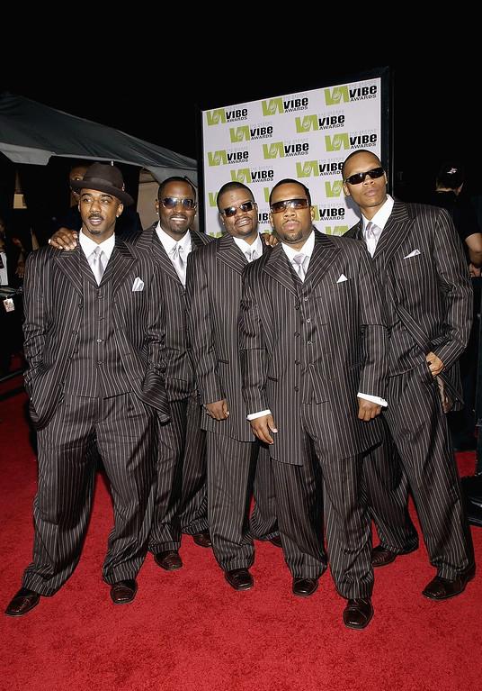 . SANTA MONICA, CA - NOVEMBER 15:  Music group New Edition attends the 2004 Vibe Awards at Barker Hangar November 15, 2004 in Santa Monica, California. (Photo by Amanda Edwards/Getty Images)
