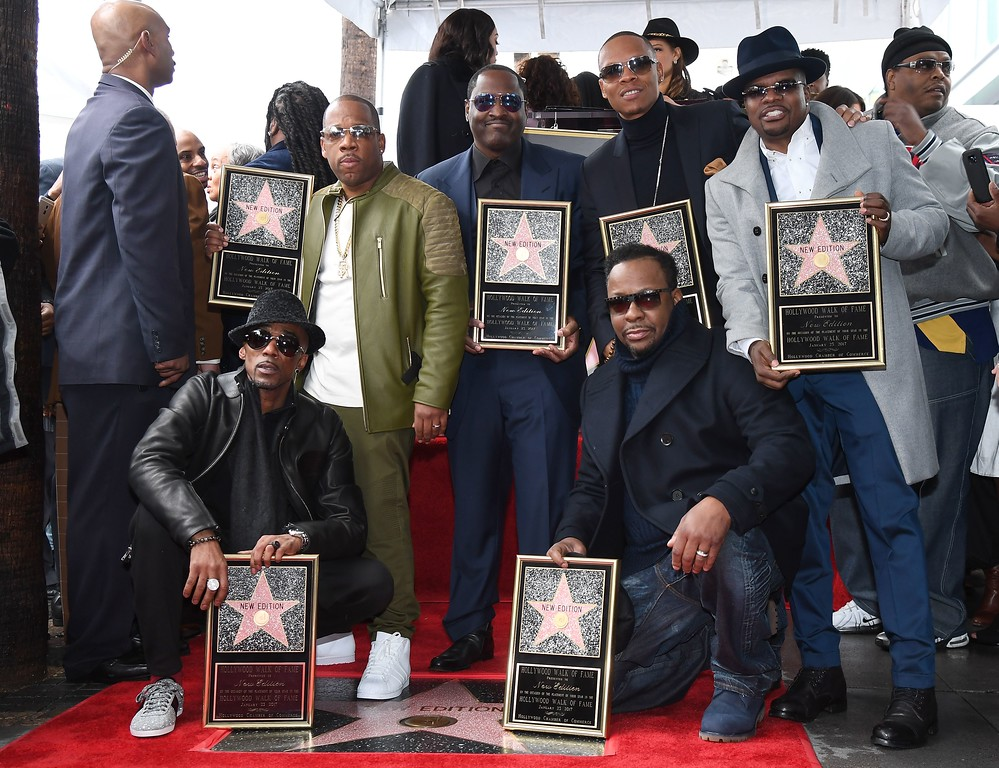 . Members of the band New Edition,L-R: Ralph Tresvant Michael Bivins, Johnny Gill, Ronnie DeVoe, Bobby Brown and Ricky Bell attend their  star ceremony on the Hollywood Walk of Fame on January 23, 2017 in Los Angeles, California. (ANGELA WEISS/AFP/Getty Images)