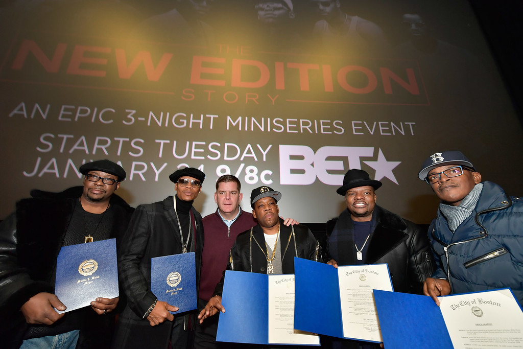. BOSTON, MA - JANUARY 08:  Brooke Payne, Bobby Brown, Ronnie DeVoe, Rickie Bell, Boston Mayor Marty Walsh and Michael Bivins attend BET\'s Boston screening of \'The New Edition Story\' at AMC Boston Common on January 8, 2017 in Boston, Massachusetts.  (Photo by Paul Marotta/Getty Images for BET)