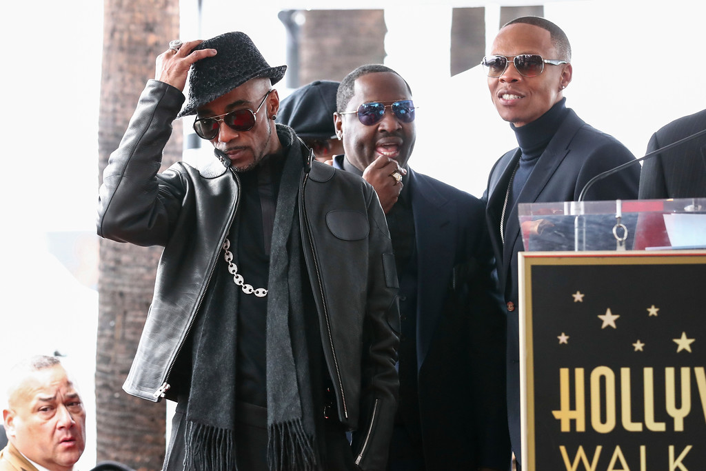 . Ralph Tresvant, from left to right, Johnny Gill and Ronnie DeVoe attend a ceremony honoring New Edition with the 2,600th star on the Hollywood Walk of Fame on Monday, Jan. 23, 2017, in Los Angeles. (Photo by John Salangsang/Invision/AP)