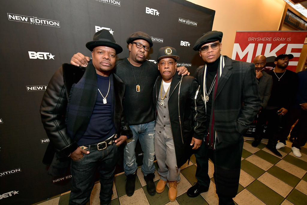 . BOSTON, MA - JANUARY 08:  Rickie Bell, Bobby Brown, Michael  Bivins and Ronnie DeVoe attend BET\'s Boston screening of \'The New Edition Story\' at AMC Boston Common on January 8, 2017 in Boston, Massachusetts.  (Photo by Paul Marotta/Getty Images for BET)