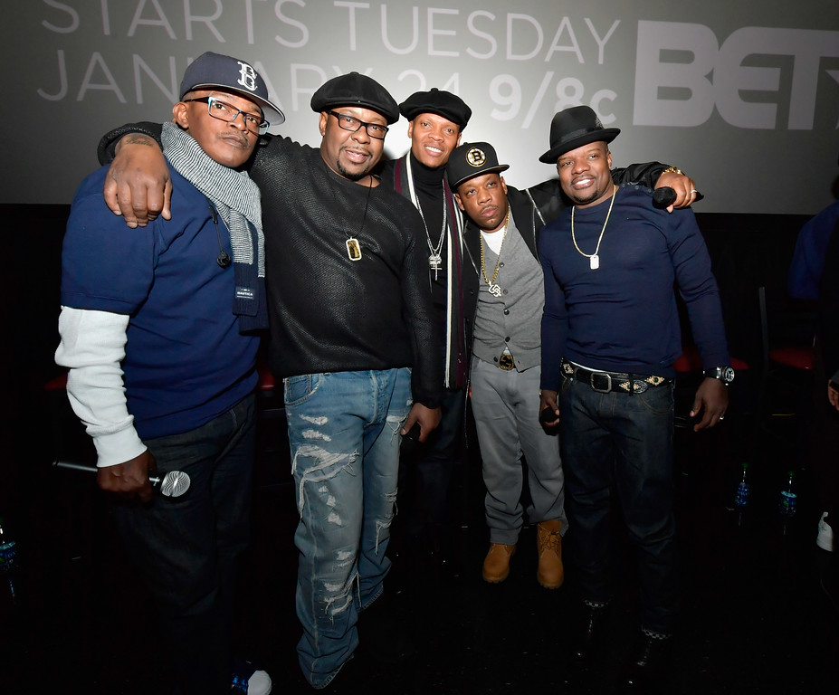 . BOSTON, MA - JANUARY 08:  Brooke Payne, Bobby Brown, Ronnie DeVoe, Rickie Bell and Michael Bivins attend BET\'s Boston screening of \'The New Edition Story\' at AMC Boston Common on January 8, 2017 in Boston, Massachusetts.  (Photo by Paul Marotta/Getty Images for BET)
