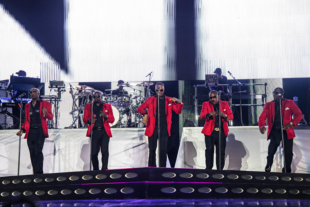 . Ralph Tresvant, from left, Ricky Bell, Ronnie DeVoe, Michael Bivins, and Johnny Gill of New Edition seen at 2016 Essence Festival at the Mercedes-Benz Superdome on Friday, July 1, 2016, in New Orleans. (Photo by [Amy Harris/Invision/AP)