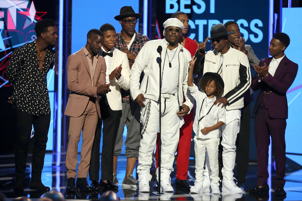 . Bobby Brown, center, and the cast of New Edition present the award for best actress  at the BET Awards at the Microsoft Theater on Sunday, June 26, 2016, in Los Angeles. (Photo by Matt Sayles/Invision/AP)
