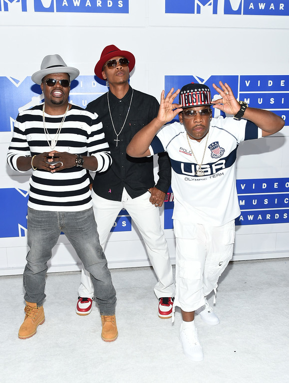 . From left, Ricky Bell, Ronnie DeVoe, and Michael Bivins of New Edition arrive at the MTV Video Music Awards at Madison Square Garden on Sunday, Aug. 28, 2016, in New York. (Photo by Evan Agostini/Invision/AP)