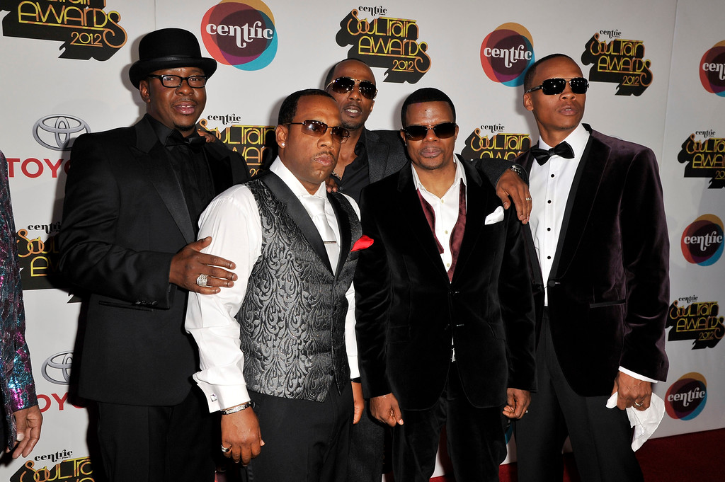 . FILE - This Thursday, Nov. 8, 2012 file photo shows singers, from left, Bobby Brown, Michael Bivens, Ralph Tresvant, Ricky Bell and Ronnie Devoe of the R&B group New Edition arriving at the Soul Train Awards at Planet Hollywood Resort and Casino in Las Vegas.   (Photo by Jeff Bottari/Invision/AP, file)