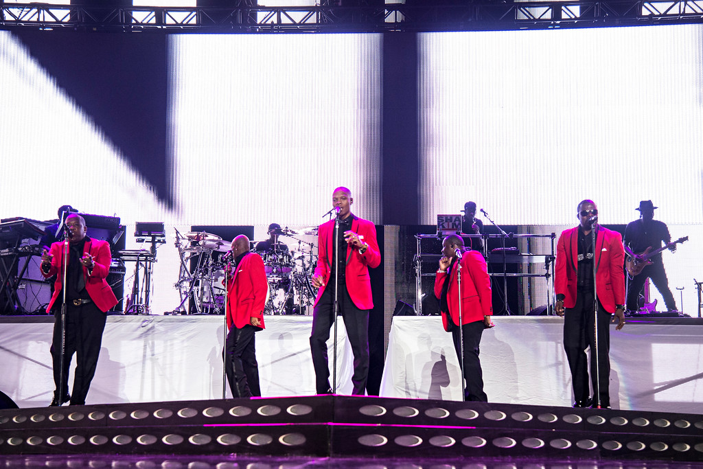 . Michael Bivens, from left, Ralph Tresvant, Ronnie DeVoe, Johnny Gill, and Ricky Bell of New Edition seen at 2016 Essence Festival at the Mercedes-Benz Superdome on Friday, July 1, 2016, in New Orleans. (Photo by [Amy Harris/Invision/AP)