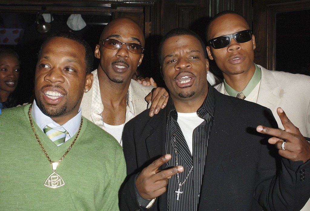 . UNIVERSAL CITY, CA - MAY 21:  (L-R) New Edition members Michael Bivins, Ralph Tresvant, Ricky Bell and Ronnie DeVoe   attend Johnny Gill\'s 40th birthday celebration at BB King\'s Blues Club on May 21, 2006 in Universal City, California.  (Photo by Stephen Shugerman/Getty Images)