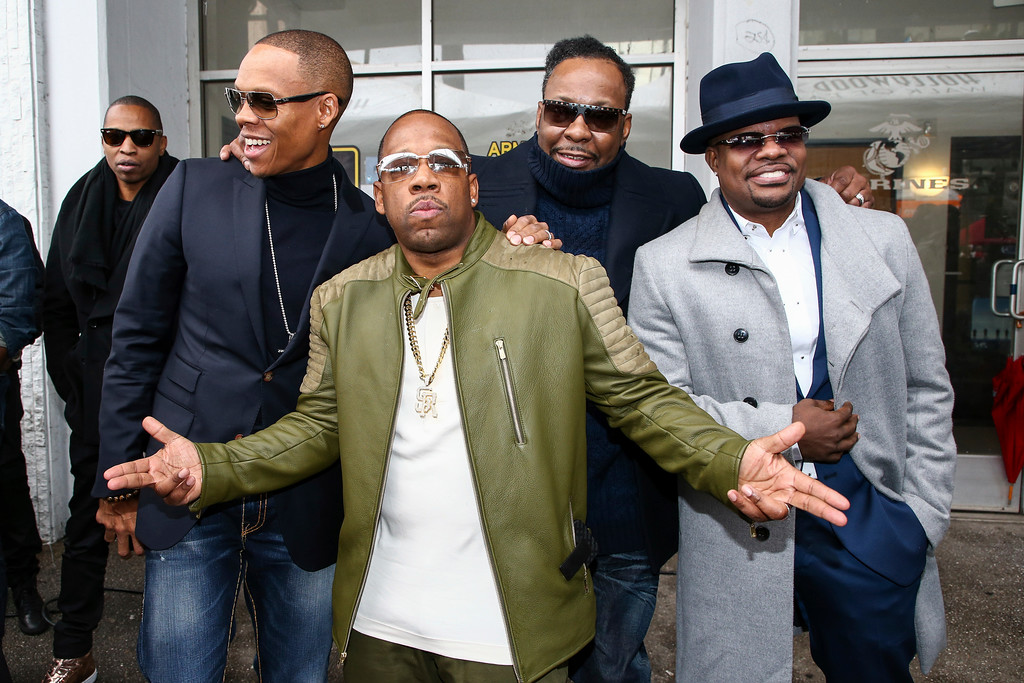 . Ronnie DeVoe, left to right, Michael Bivins, Bobby Brown and Ricky Bell attend a ceremony honoring New Edition with a star on the Hollywood Walk of Fame on Monday, Jan. 23, 2017, in Los Angeles. (Photo by John Salangsang/Invision/AP)