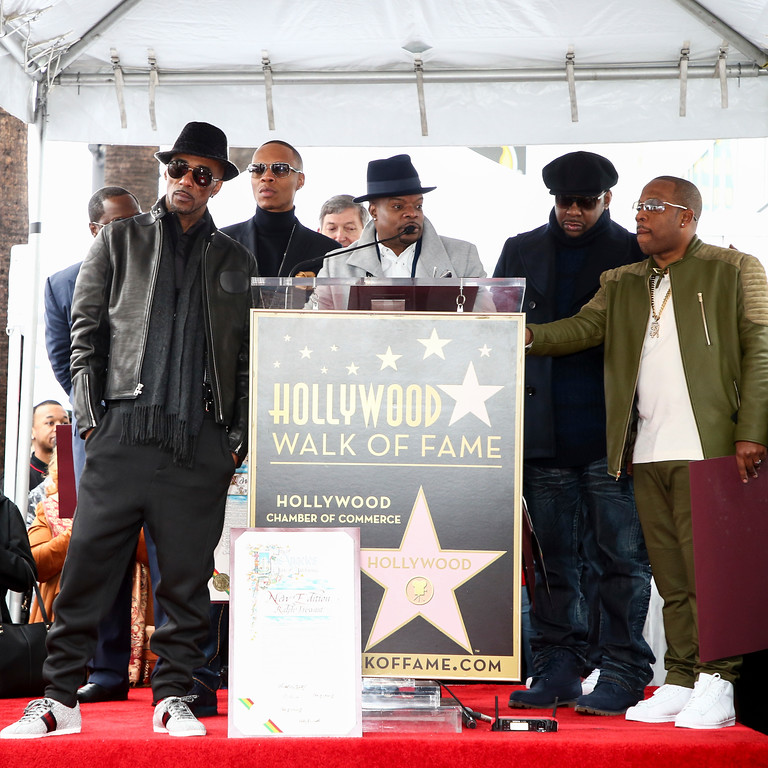 . Johnny Gill, from left to right, Ralph Tresvant, Ronnie DeVoe, Ricky Bell, Bobby Brown and Michael Bivins attend a ceremony honoring New Edition with the 2,600th star on the Hollywood Walk of Fame on Monday, Jan. 23, 2017, in Los Angeles. (Photo by John Salangsang/Invision/AP)