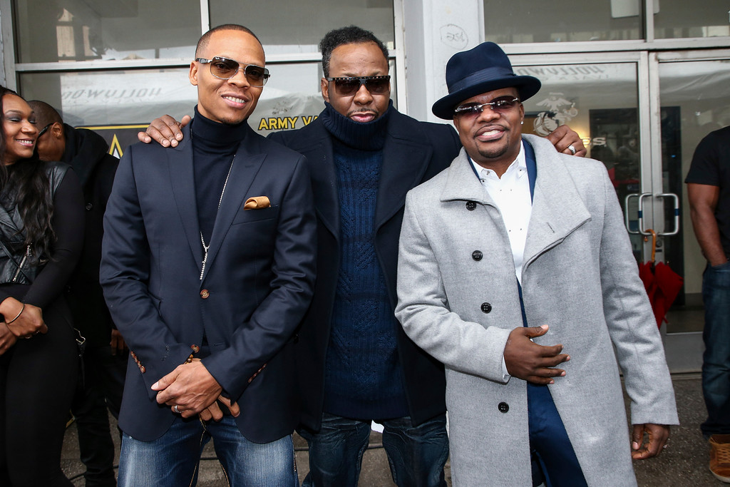 . Ronnie DeVoe, left to right, Bobby Brown and Ricky Bell attend a ceremony honoring New Edition with a star on the Hollywood Walk of Fame on Monday, Jan. 23, 2017, in Los Angeles. (Photo by John Salangsang/Invision/AP)