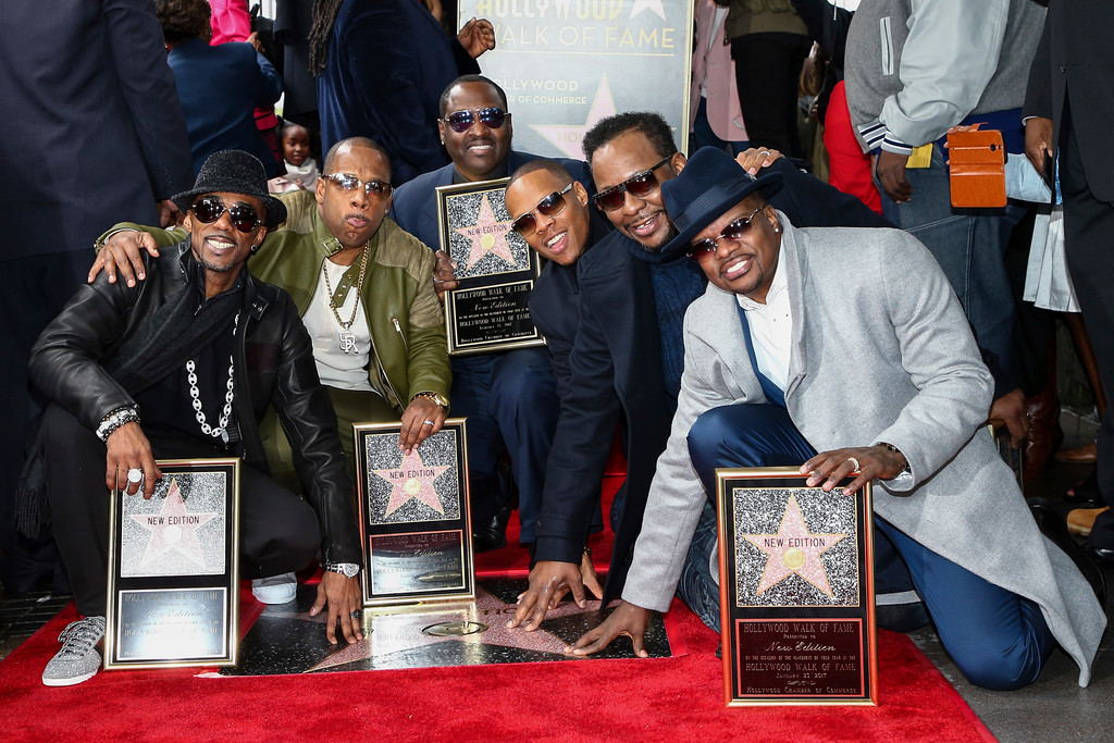 . Ralph Tresvant, from left to right, Michael Bivins, Johnny Gill, Ronnie DeVoe, Bobby Brown and Ricky Bell attend a ceremony honoring New Edition with the 2,600th star on the Hollywood Walk of Fame on Monday, Jan. 23, 2017, in Los Angeles. (Photo by John Salangsang/Invision/AP)