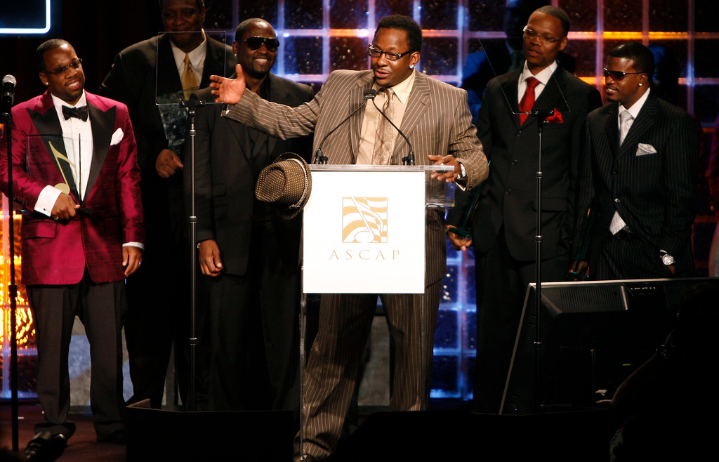 . Members of the music group New Edition, from left, Michael Bivens, Johnny Gill, Bobby Brown, Ralph Tresvant, and Ricky Bell accept the ASCAP Golden Note award at the 21st annual ASCAP Rhythm & Soul Music Awards in Beverly Hills, Calif. on Monday, June 23, 2008. (AP Photo/Matt Sayles)