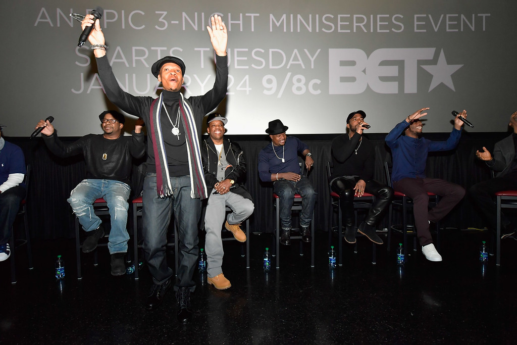 . BOSTON, MA - JANUARY 08:  Brooke Payne, Bobby Brown, Rickie Bell, Ronnie DeVoe and Michael Bivins attend BET\'s Boston screening of \'The New Edition Story\' at AMC Boston Common on January 8, 2017 in Boston, Massachusetts.  (Photo by Paul Marotta/Getty Images for BET)