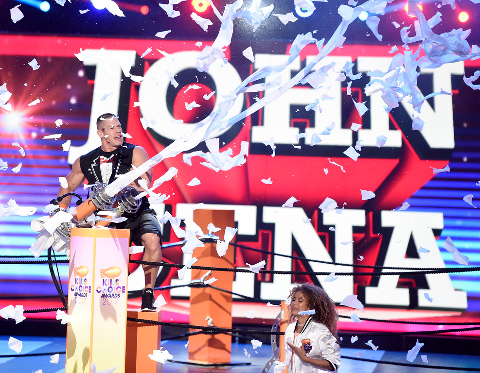 . Host John Cena shoots toilet paper into the audience at the Kids\' Choice Awards at the Galen Center on Saturday, March 11, 2017, in Los Angeles. (Photo by Chris Pizzello/Invision/AP)