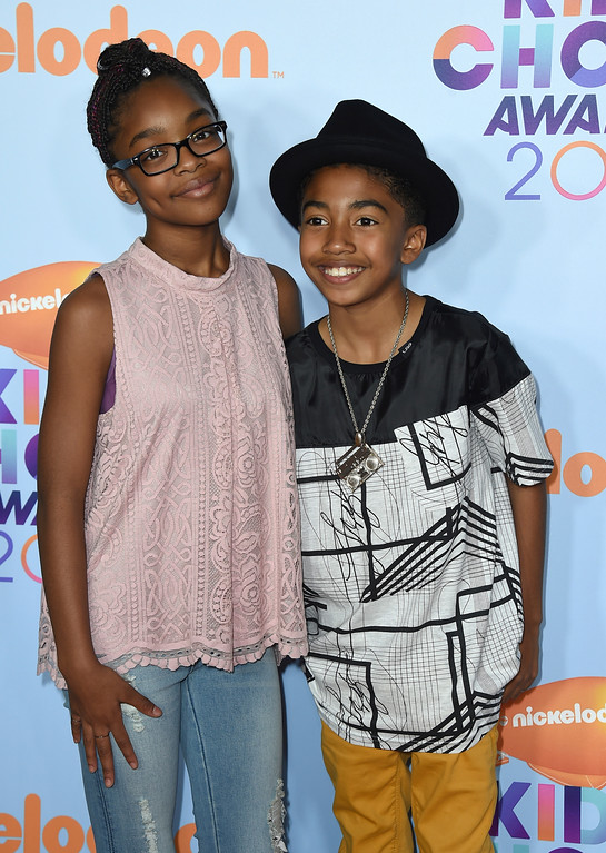 . Marsai Martin, left, and Miles Brown arrive at the Kids\' Choice Awards at the Galen Center on Saturday, March 11, 2017, in Los Angeles. (Photo by Jordan Strauss/Invision/AP)