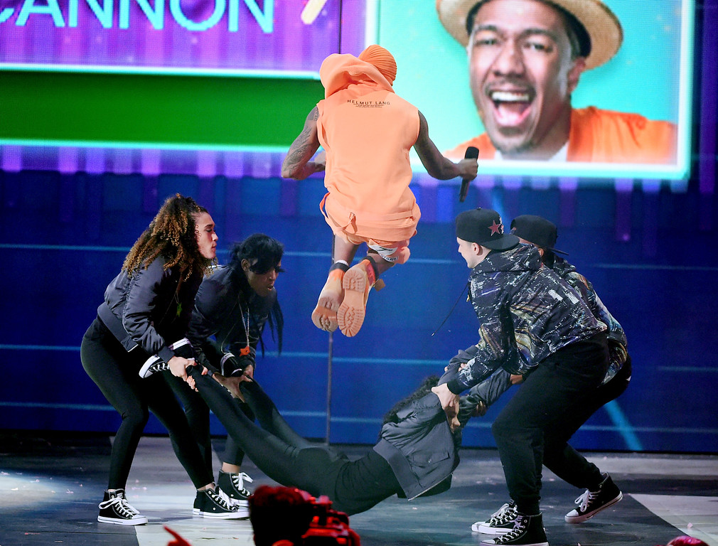 . LOS ANGELES, CA - MARCH 11:  Actor Nick Cannon performs onstage at Nickelodeon\'s 2017 Kids\' Choice Awards at USC Galen Center on March 11, 2017 in Los Angeles, California.  (Photo by Kevin Winter/Getty Images)