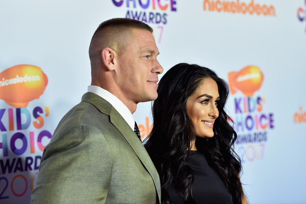 . LOS ANGELES, CA - MARCH 11:  Professional wrestlers John Cena (L) and Nikki Bella at Nickelodeon\'s 2017 Kids\' Choice Awards at USC Galen Center on March 11, 2017 in Los Angeles, California.  (Photo by Alberto E. Rodriguez/Getty Images)
