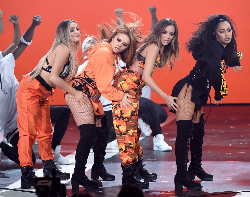 . Perrie Edwards, from left, Jesy Nelson, Jade Thirlwall, and Leigh-Anne Pinnock, of Little Mix, perform at the Kids\' Choice Awards at the Galen Center on Saturday, March 11, 2017, in Los Angeles. (Photo by Chris Pizzello/Invision/AP)