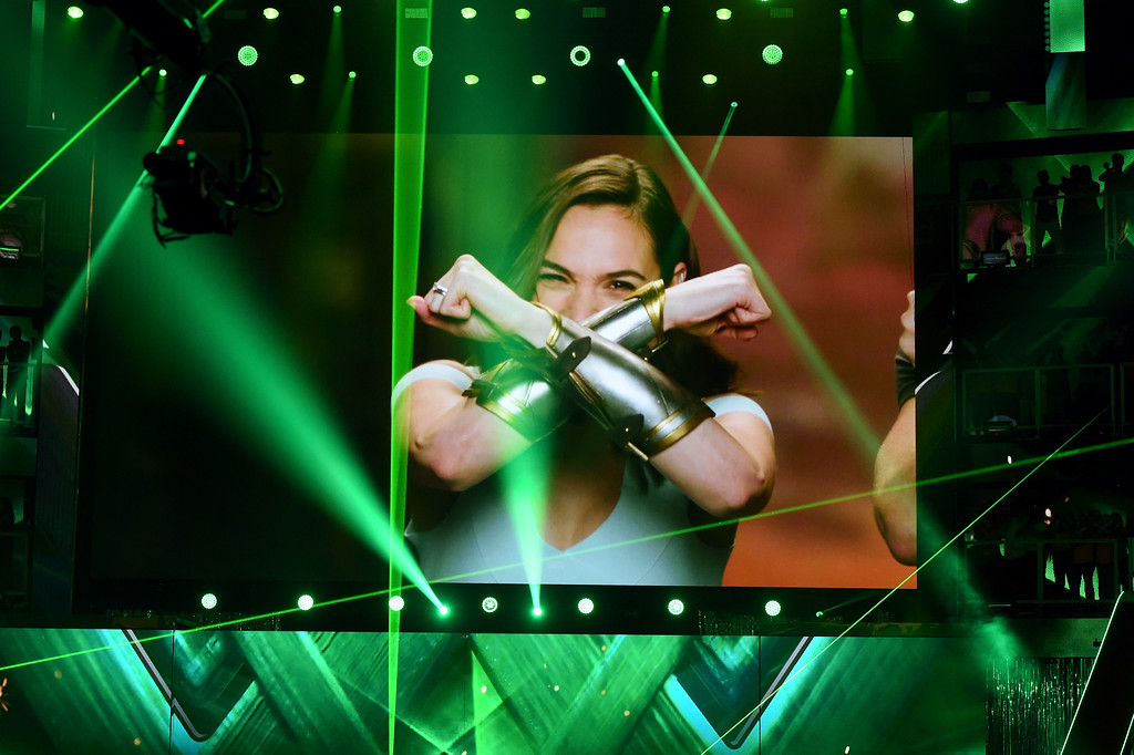 . LOS ANGELES, CA - MARCH 11:  Actor Gal Gadot is televised onstage at Nickelodeon\'s 2017 Kids\' Choice Awards at USC Galen Center on March 11, 2017 in Los Angeles, California.  (Photo by Kevin Winter/Getty Images)