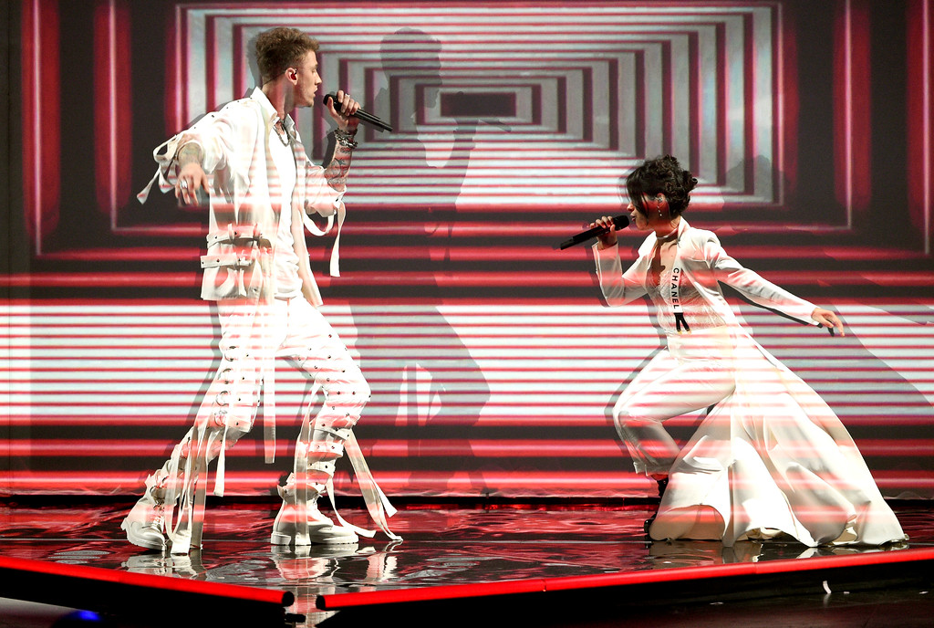 """. Machine Gun Kelly, left, and Camila Cabello perform \""""Bad Things\"""" at the Kids\' Choice Awards at the Galen Center on Saturday, March 11, 2017, in Los Angeles. (Photo by Chris Pizzello/Invision/AP)"""