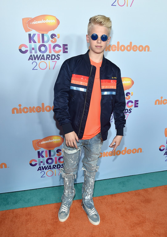 . LOS ANGELES, CA - MARCH 11: Singer Carson Lueders at Nickelodeon\'s 2017 Kids\' Choice Awards at USC Galen Center on March 11, 2017 in Los Angeles, California.  (Photo by Alberto E. Rodriguez/Getty Images)