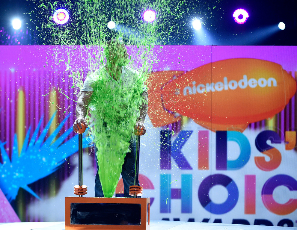 . Host John Cena gets slimed at the Kids\' Choice Awards at the Galen Center on Saturday, March 11, 2017, in Los Angeles. (Photo by Chris Pizzello/Invision/AP)