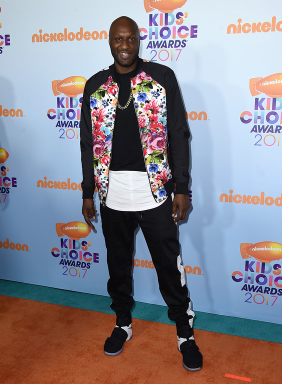 . Lamar Odom arrives at the Kids\' Choice Awards at the Galen Center on Saturday, March 11, 2017, in Los Angeles. (Photo by Jordan Strauss/Invision/AP)