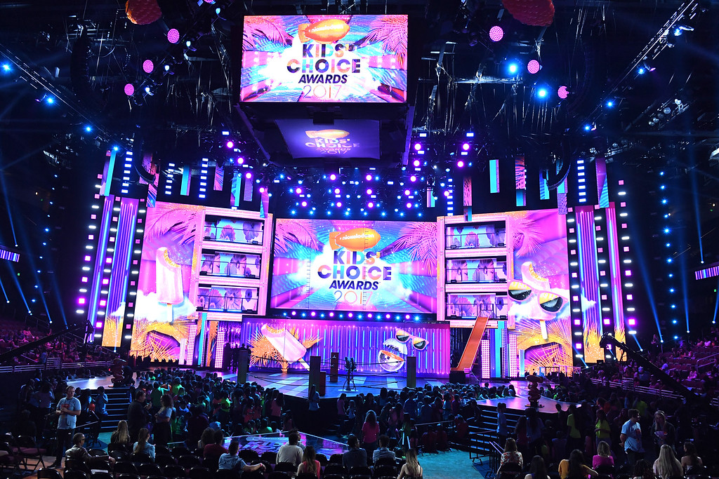 . LOS ANGELES, CA - MARCH 11:  A view of the stage at Nickelodeon\'s 2017 Kids\' Choice Awards at USC Galen Center on March 11, 2017 in Los Angeles, California.  (Photo by Kevin Winter/Getty Images)