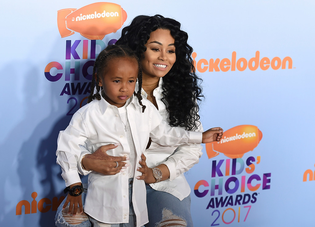 . Blac Chyna, right, and King Cairo Stevenson arrive at the Kids\' Choice Awards at the Galen Center on Saturday, March 11, 2017, in Los Angeles. (Photo by Jordan Strauss/Invision/AP)