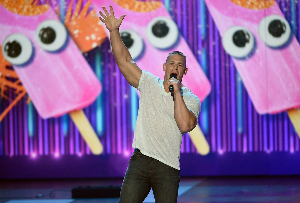 . Host John Cena speaks at the Kids\' Choice Awards at the Galen Center on Saturday, March 11, 2017, in Los Angeles. (Photo by Chris Pizzello/Invision/AP)