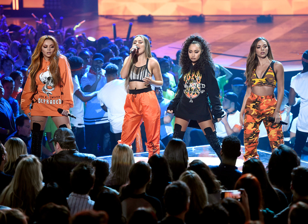 . Jesy Nelson, from left, Perrie Edwards, Leigh-Anne Pinnock, and Jade Thirlwall, of Little Mix, perform at the Kids\' Choice Awards at the Galen Center on Saturday, March 11, 2017, in Los Angeles. (Photo by Chris Pizzello/Invision/AP)