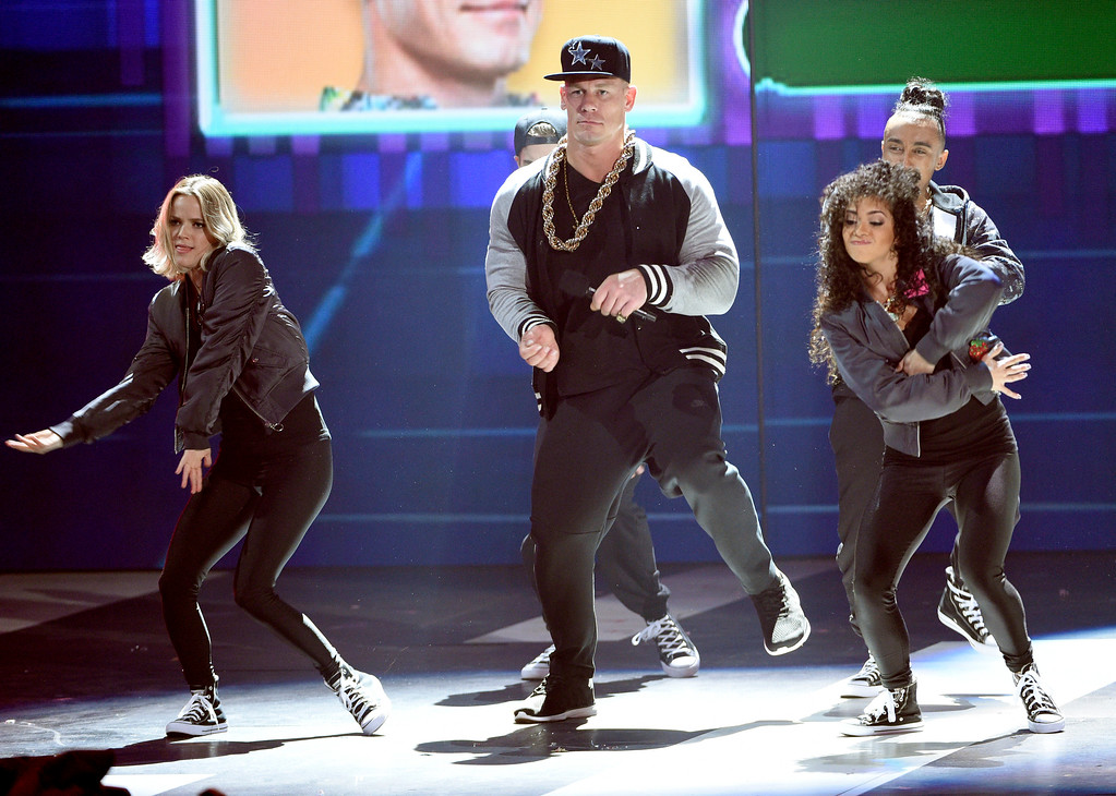 . Host John Cena competes in a dance battle at the Kids\' Choice Awards at the Galen Center on Saturday, March 11, 2017, in Los Angeles. (Photo by Chris Pizzello/Invision/AP)