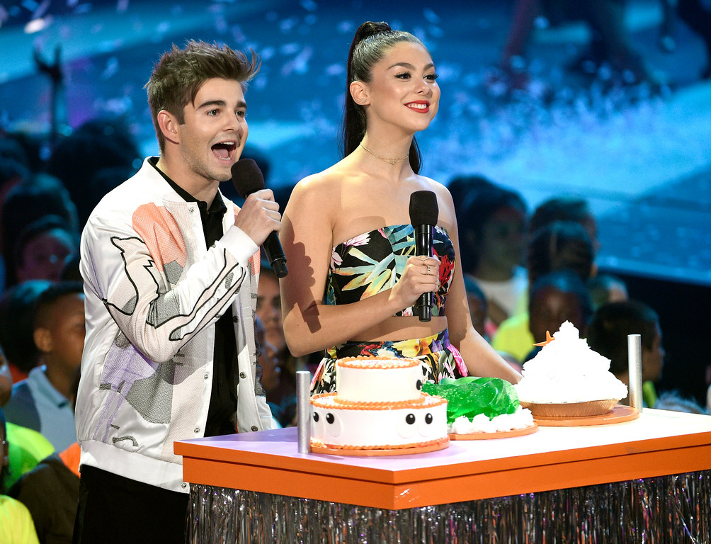 . Jack Griffo, left, and Kira Kosarin speak at the Kids\' Choice Awards at the Galen Center on Saturday, March 11, 2017, in Los Angeles. (Photo by Chris Pizzello/Invision/AP)